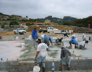 Great Employees Laying Decorative Concrete foundation