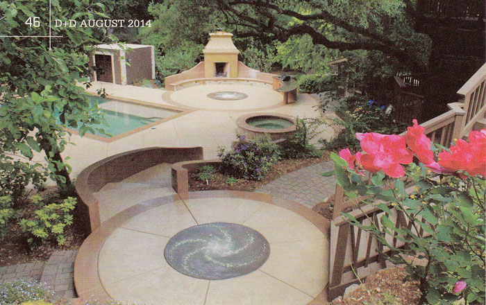 2014 August Durability Design Decorative Concrete Pool Deck Fireplace Luminescent Concrete Medallions